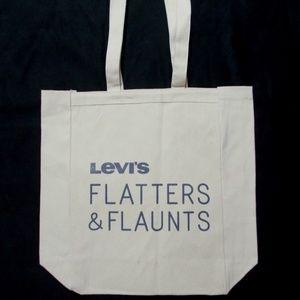 Levi's White Canvas Tote Flatters Flaunts Book Bag
